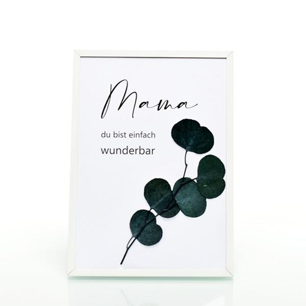 Trockenblumen Bilderrahmen mit Spruch Mama und gepressten Blumen   Muttertag