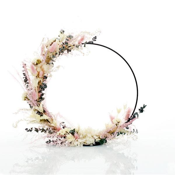 Trockenblumenkranz stehend | Hoop | Sommertraum | schwarz 30 cm | Trockenblumen weiss-rosa-grün