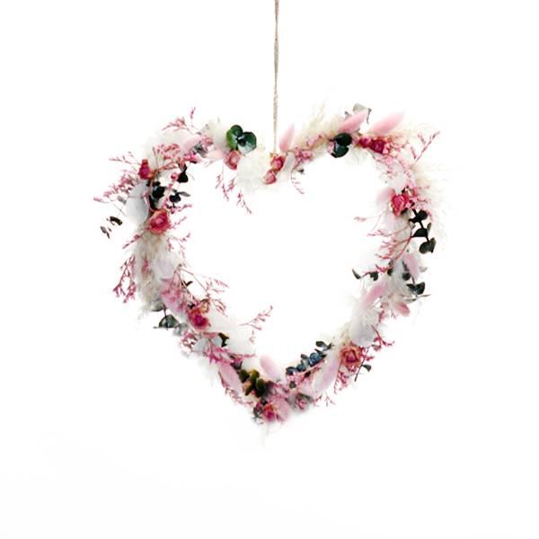 Trockenblumenherz Traumfarben 30 cm | Trockenblumen weiss-rosa-pink-grün
