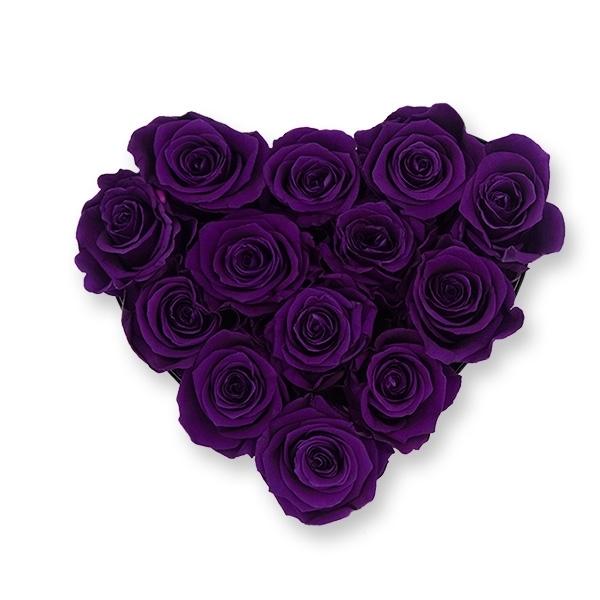 Rosenbox Herz Infinity Rosen dunkellila | Flowerbox Herzbox | M black