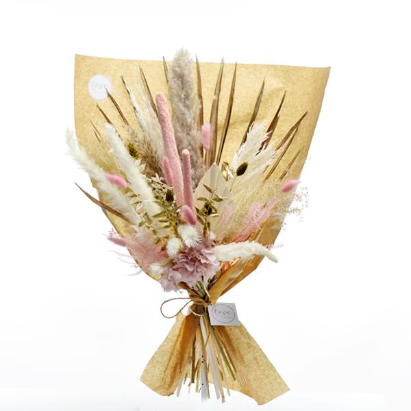 Trockenblumenstrauß Rosezauber L | Trockenblumen weiss-rosa-gold