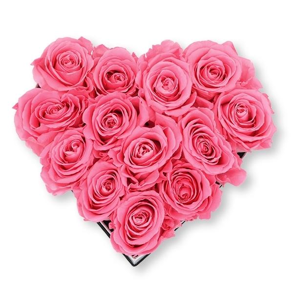 Rosenbox Herz Infinity Rosen baby rosa | Flowerbox Herzbox | M white