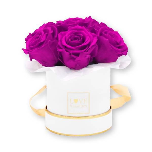 Flowerbox Bouquet gold | Small | Rosen Purpur (Lila)