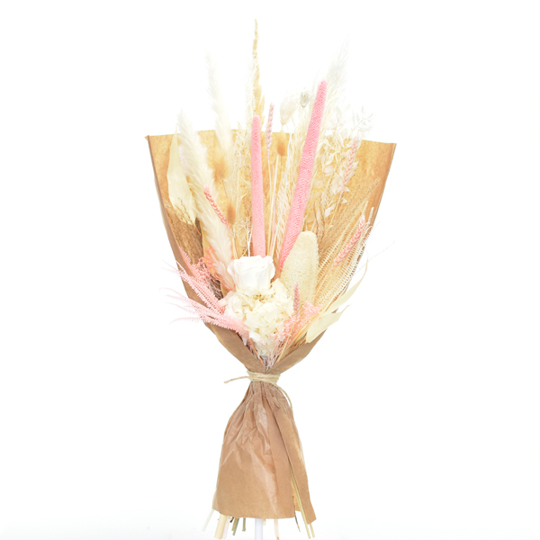 Trockenblumenstrauß Rosen Versuchung L | Trockenblumen weiss-rosa