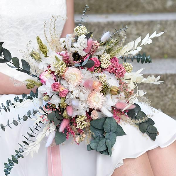 Trockenblumen Brautstrauß | Brautstrauss Trockenblumen | weiss | rosa | pink | pastell