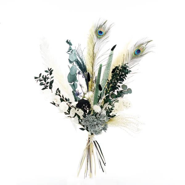 Trockenblumenstrauß Pfauenzauber L   Trockenblumen weiss-natur-grün